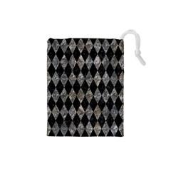Diamond1 Black Marble & Gray Stone Drawstring Pouches (small)
