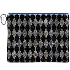Diamond1 Black Marble & Gray Stone Canvas Cosmetic Bag (xxxl)
