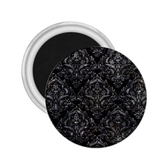 Damask1 Black Marble & Gray Stone 2 25  Magnets