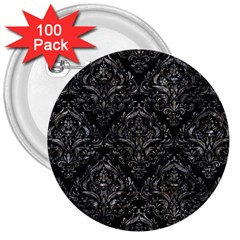 Damask1 Black Marble & Gray Stone 3  Buttons (100 Pack)