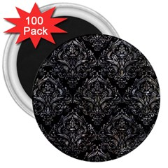 Damask1 Black Marble & Gray Stone 3  Magnets (100 Pack)