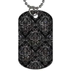 Damask1 Black Marble & Gray Stone Dog Tag (two Sides)