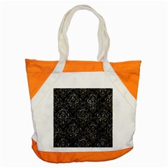 Damask1 Black Marble & Gray Stone Accent Tote Bag
