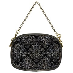 Damask1 Black Marble & Gray Stone Chain Purses (two Sides)