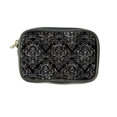Damask1 Black Marble & Gray Stone Coin Purse