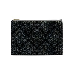 Damask1 Black Marble & Gray Stone Cosmetic Bag (medium)
