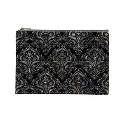 Damask1 Black Marble & Gray Stone Cosmetic Bag (large)