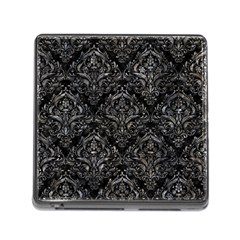 Damask1 Black Marble & Gray Stone Memory Card Reader (square)