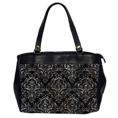 Damask1 Black Marble & Gray Stone Office Handbags (2 Sides)