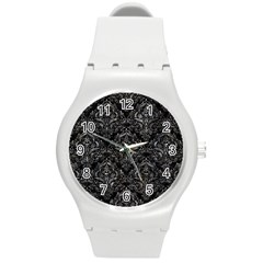 Damask1 Black Marble & Gray Stone Round Plastic Sport Watch (m)