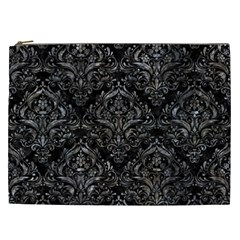 Damask1 Black Marble & Gray Stone Cosmetic Bag (xxl)