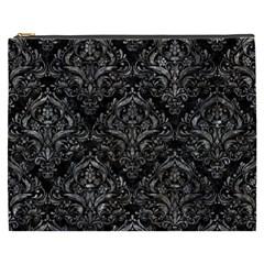Damask1 Black Marble & Gray Stone Cosmetic Bag (xxxl)