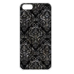 Damask1 Black Marble & Gray Stone Apple Iphone 5 Seamless Case (white)