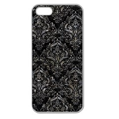 Damask1 Black Marble & Gray Stone Apple Seamless Iphone 5 Case (clear)