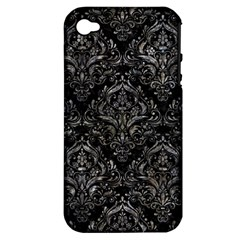 Damask1 Black Marble & Gray Stone Apple Iphone 4/4s Hardshell Case (pc+silicone)