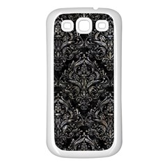Damask1 Black Marble & Gray Stone Samsung Galaxy S3 Back Case (white)