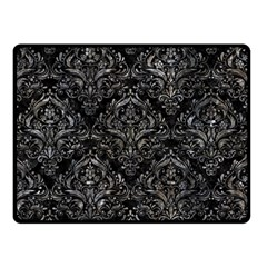 Damask1 Black Marble & Gray Stone Double Sided Fleece Blanket (small)