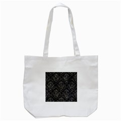 Damask1 Black Marble & Gray Stone Tote Bag (white)