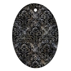 Damask1 Black Marble & Gray Stone (r) Ornament (oval)
