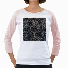 Damask1 Black Marble & Gray Stone (r) Girly Raglans