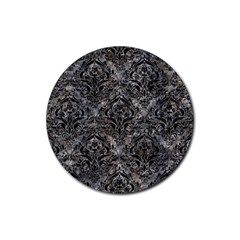 Damask1 Black Marble & Gray Stone (r) Rubber Round Coaster (4 Pack)