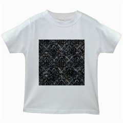 Damask1 Black Marble & Gray Stone (r) Kids White T Shirts