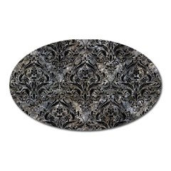 Damask1 Black Marble & Gray Stone (r) Oval Magnet