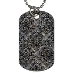 Damask1 Black Marble & Gray Stone (r) Dog Tag (two Sides)