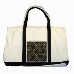 Damask1 Black Marble & Gray Stone (r) Two Tone Tote Bag