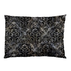 Damask1 Black Marble & Gray Stone (r) Pillow Case