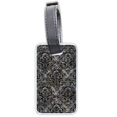 Damask1 Black Marble & Gray Stone (r) Luggage Tags (two Sides)