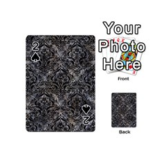 Damask1 Black Marble & Gray Stone (r) Playing Cards 54 (mini)