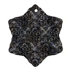 Damask1 Black Marble & Gray Stone (r) Snowflake Ornament (two Sides)