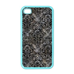 Damask1 Black Marble & Gray Stone (r) Apple Iphone 4 Case (color)