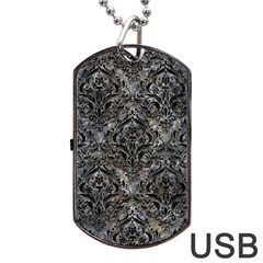 Damask1 Black Marble & Gray Stone (r) Dog Tag Usb Flash (one Side)