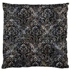Damask1 Black Marble & Gray Stone (r) Large Cushion Case (two Sides)