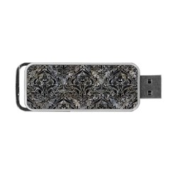Damask1 Black Marble & Gray Stone (r) Portable Usb Flash (two Sides)