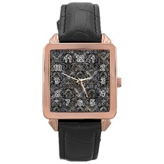 Damask1 Black Marble & Gray Stone (r) Rose Gold Leather Watch