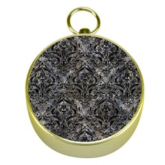 Damask1 Black Marble & Gray Stone (r) Gold Compasses