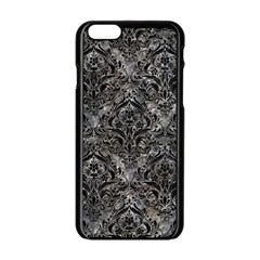 Damask1 Black Marble & Gray Stone (r) Apple Iphone 6/6s Black Enamel Case
