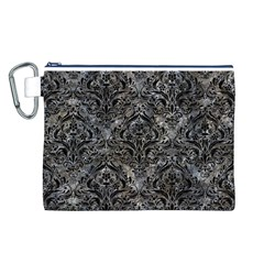 Damask1 Black Marble & Gray Stone (r) Canvas Cosmetic Bag (l)