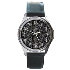 Damask2 Black Marble & Gray Stone Round Metal Watch