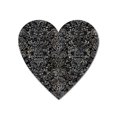 Damask2 Black Marble & Gray Stone Heart Magnet