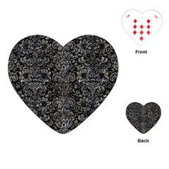 Damask2 Black Marble & Gray Stone Playing Cards (heart)