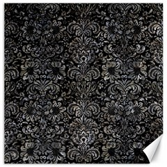 Damask2 Black Marble & Gray Stone Canvas 12  X 12
