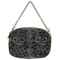 Damask2 Black Marble & Gray Stone Chain Purses (one Side)