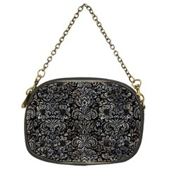 Damask2 Black Marble & Gray Stone Chain Purses (two Sides)