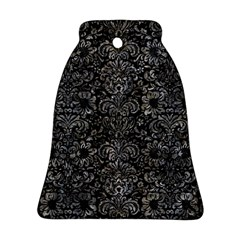 Damask2 Black Marble & Gray Stone Ornament (bell)