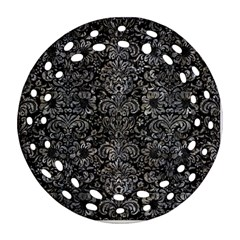 Damask2 Black Marble & Gray Stone Round Filigree Ornament (two Sides)