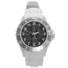 Damask2 Black Marble & Gray Stone Round Plastic Sport Watch (l)